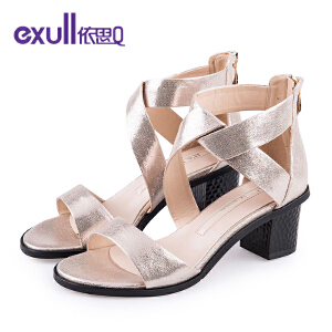 依思q夏新款凉鞋女露趾粗跟女鞋高跟鞋