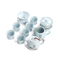 汝窑家用功夫茶具陶瓷整套装简易品茶茶壶盖碗创意工夫办公室喝茶