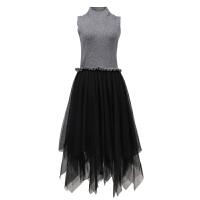 chic毛衣网纱裙两件套女秋春针织背心裙不规则时尚套装学生连衣裙
