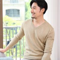 秋冬款男士V领套头纯色羊毛衫 商务薄款大码宽松针织打底衫