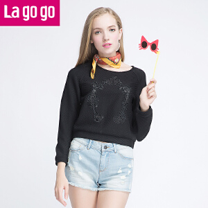Lagogo拉谷谷新款女装黑色圆领长袖t恤女上衣宽松短款外穿打底衫