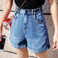 牛仔短裤女夏2018新款高腰a字显瘦韩版宽松阔腿chic热裤潮 蓝色