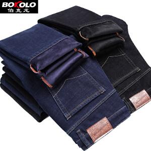 伯克龙 男士牛仔裤加绒款 宽松直筒中腰大码弹力冬季加厚休闲长裤子 Y8037