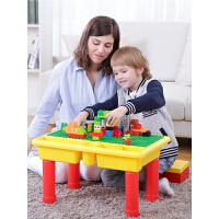 儿童积木桌子多功能游戏桌大颗粒积木拼装玩具男孩3周岁