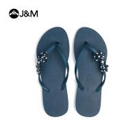 jm快乐玛丽2018夏季时尚平底沙滩夹趾女拖鞋凉鞋平底拖鞋子T1037W