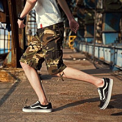 夏季学生迷彩短裤男士宽松休闲工装裤中裤韩版潮流夏天运动五分裤 发货周期:一般在付款后2-90天左右发货,具体发货时间请以与客服协商的时间为准