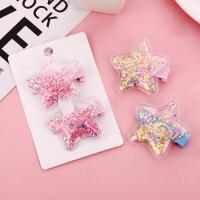 少女儿童可爱透明彩色发夹头饰 创意韩版塑料星星流沙亮片bb夹