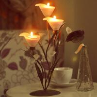 创意欧式复古马蹄莲烛台摆件铁艺烛台灯婚庆烛台蜡烛烛光晚餐烛台 马蹄莲烛台