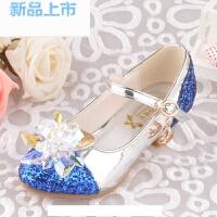 韩版女童鞋公主鞋亮晶晶高跟水晶鞋搭配儿童灰姑娘礼服裙粉/蓝色