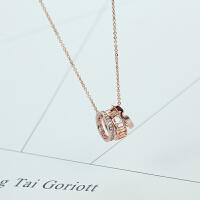 流行韩版时尚字玫瑰金项链女 百搭短款钛钢装饰锁骨链饰品