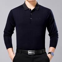 中年男士长袖T恤薄款羊毛衫中老年父装羊绒体恤加大码
