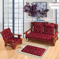 冬季联邦木椅垫单三人沙发垫防滑红实木沙发坐垫木质组合沙发垫子