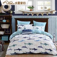 水星家纺四件套全棉纯棉卡通儿童床上用品蓝色海洋