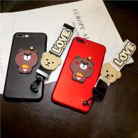 潮女款iPhone6s手机壳苹果7plus硅胶套挂绳6p个性小熊招财猫软8p