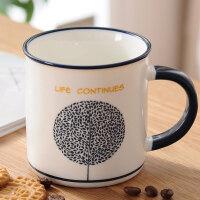 马克杯简约咖啡杯陶瓷牛奶杯仿搪瓷茶杯喝水杯子生日礼物