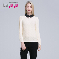 Lagogo/拉谷谷冬季新款POLO领长袖钉珠衬衫上衣 EDA633H301