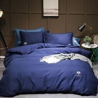 简约刺绣素色棉灯芯绒磨毛四件套色全棉床品秋冬季床上用品