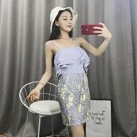 夏装泰国潮牌性感裹胸层层荷叶边刺绣网纱修身包臀吊带裙