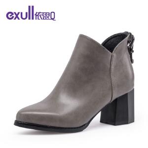 依思q冬季新款时尚金属皮带扣短靴尖头粗跟高跟潮靴