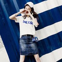 套装女夏季新款韩版时尚学生休闲短袖T恤+牛仔短裙两件套裙潮 白蓝