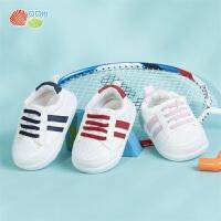 贝贝怡童鞋婴幼儿学步鞋夏轻盈防滑小白单鞋儿童绑带鞋子