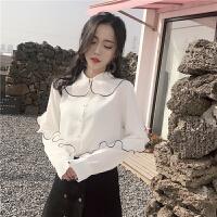 春款上衣女新款春装衬衣雪纺长袖衬衫女宽松心机设计感潮