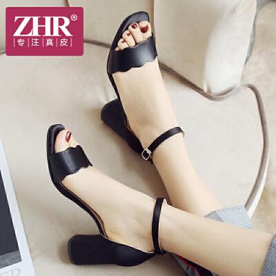 ZHR2018夏季新款花边一字带凉鞋简约chic粗跟女鞋韩版搭扣鞋子潮F82