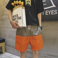 直筒小号小码拼接色休闲五分短裤 系带运动3分速干裤S XS号男生