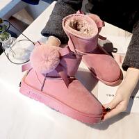雪地靴女加绒短靴女2018冬季新款韩版百搭靴子女鞋平底短筒加绒加厚保暖棉鞋2336DTH