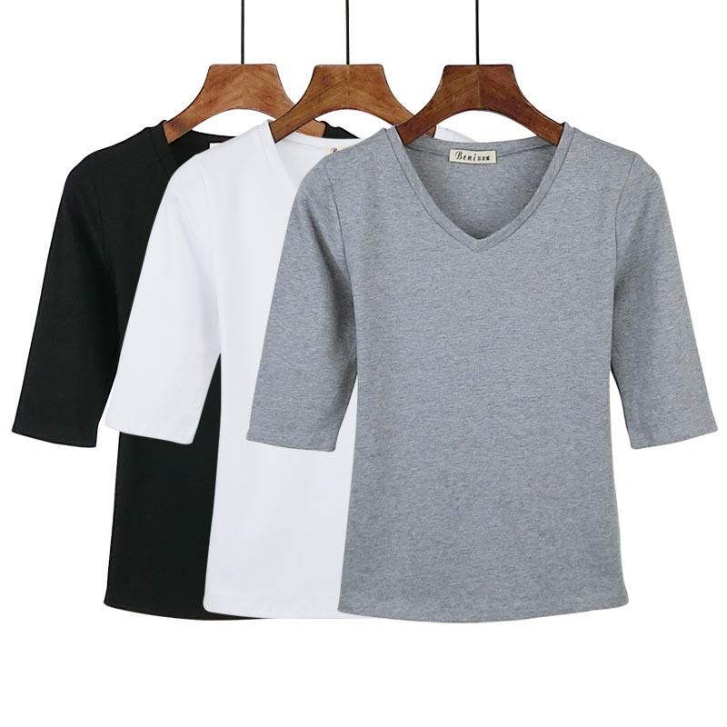 2018春夏季韩版v领纯色T恤女上衣中袖打底衫修身五分半袖体恤女潮