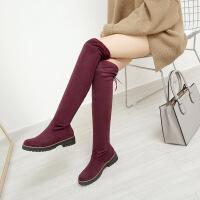 彼艾2017秋冬新款女长筒粗跟过膝长靴圆头高跟磨砂防水台瘦腿弹力靴子