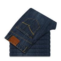 秋装男士牛仔裤微弹深色牛仔直筒百搭男裤子简约蓝色牛仔长裤