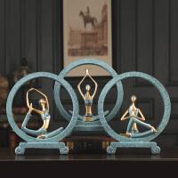 新中式装饰摆件工艺品禅意少女房间小饰品博物架创意瑜伽馆摆设品