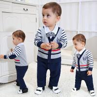 0-3个月新生儿连体衣春秋纯棉薄款初生婴儿0-12个月男童套装