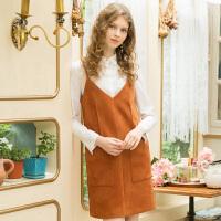 冬装新品 吊带裙V领无袖连衣裙直筒裙子D741133L40