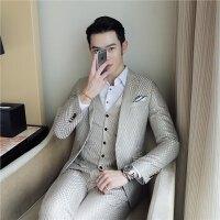 新品18春秋男士潮流发型师提花西服套装韩版修身青年免烫休闲三件