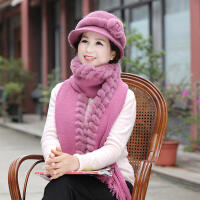 中老年女士獭兔毛围巾冬季妈妈保暖老人毛线针织围巾奶奶皮草围巾