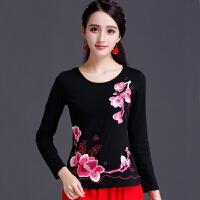 中国风 民族风女装春装绣花上衣棉长袖圆领T恤女士大码刺绣打底衫