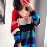 欧美范秋冬羊绒衫女中长款宽松V领彩虹条纹慵懒风针织连衣裙毛衣 彩条