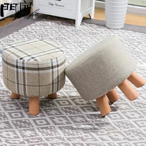 门扉 凳子 客厅换鞋凳茶几布艺沙发凳鞋柜木质小圆凳儿童家用创意小板凳