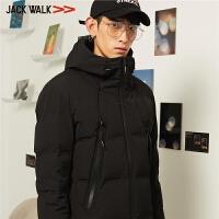 拉夏贝尔男装Jackwalk短款羽绒服冬季新品连帽休闲羽绒外套男