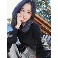 时尚新年冬季女士毛衣外套中长款小清新内搭打底针织连衣裙子韩版 黑色 现货