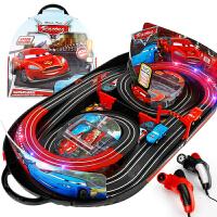 儿童玩具车电动遥控车闪电轨道车套装总动员男孩双人竞速手摇灯光