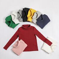 女童打底衫秋冬新品韩版童装纯色棉高领长袖保暖上衣多色