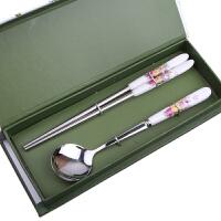 陶瓷柄不锈钢筷子勺子礼品餐具两件套装创意节日婚庆礼盒 花色随机
