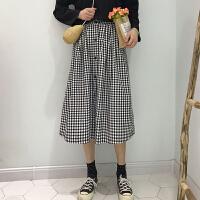 韩版学院风春装新款高腰宽松显瘦百搭复古格子中长裙半身A字裙女