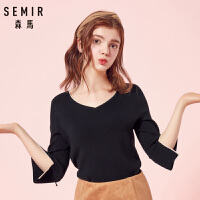 森马毛衫女2018秋季新款V领针织衫黑色优雅绑带保暖上衣打底衫