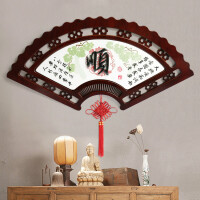 中式木雕玄关装饰画客厅背景餐厅过道浮雕装饰画牌匾扇子挂件壁饰