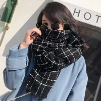 围巾女冬季2018新款韩版加厚毛线围脖格子披肩秋冬天保暖针织百搭