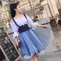 夏季新款甜美性感一字领衬衫连衣裙+背带百褶A字裙套装女